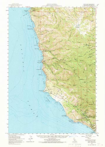 YellowMaps Point Sur CA topo map, 1:62500 Scale, 15 X 15 Minute, Historical, 1956, Updated 1970, 23.8 x 17.1 in - ()