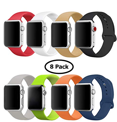 8 Pack Band for Apple Watch 38mm 42mm, Soft Silicone Sport Strap Replacement Bracelet Wristband for Apple Watch Series 3, Series 2, Series 1, Nike+, Edition, S/M M/L Size (Multicolor 2, 42 mm M/L)