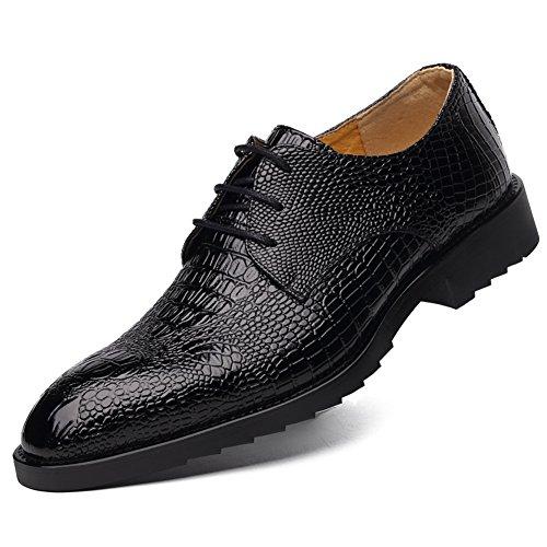 DeLamode Men Alligator Skin Business Shoes Cow Leather Pointed Rubber Soles (Alligator Skin Shoes)