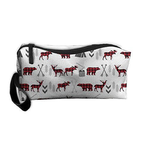 Buffalo Plaid Moose Cosmetic Bag For Purse Cosmetic Bag Accessory Case Anti-bacterial For Couple by Zhaoqian