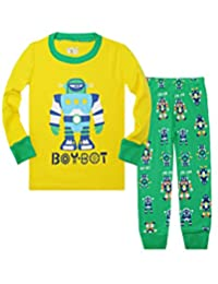Dinosaurs and Robots Boys Long Sleeves Pajamas Set 2 Piece 100% Cotton Clothes Toddler Kids Size 2T-7T