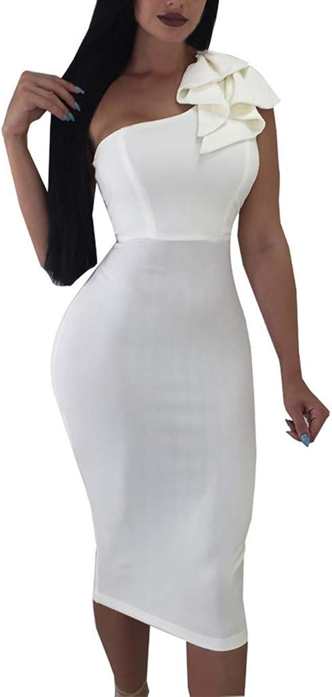 Vestido de Noche Sexy Mujer Elegante Hombro sin Tirantes Vestido ...