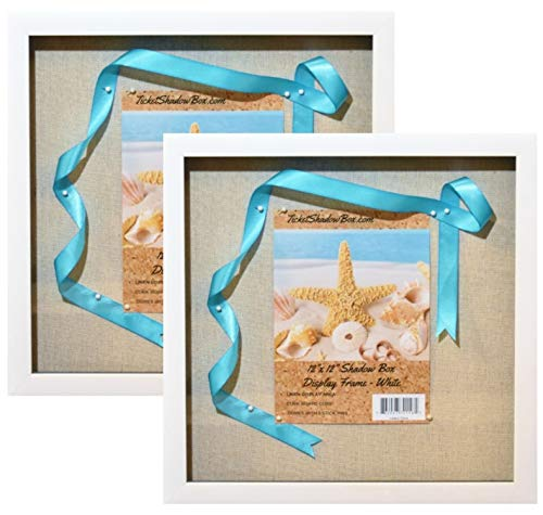 "(2-pack) 12x12"" White Display Shadow Box Frame with Linen Background and 16 Stick Pins - Ready To Hang Shadowbox Picture Frame - Easy to Use - Display Frame, Baby and Sports Memorabilia Wedding Baby ."