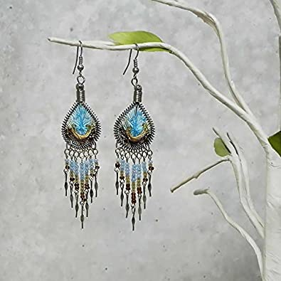 Beaded Teardrop Thread Long Beaded Dangle Earrings