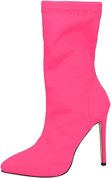 Womens High Heel Stiletto Pointy Toe Stretchy Boots Mid-calf Boots Colors Plus