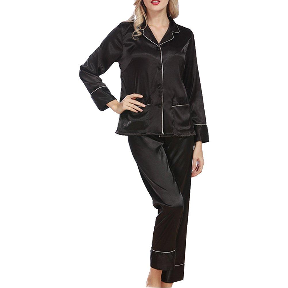 Zhhlaixing Ladies Quality Silk Satin Pajama Set Womens Sleepwear Nightgown 2120#