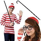 AmaFanhop Where's Wally? Wally Wenda Cane Costume Unisex Size M~XXL (L)