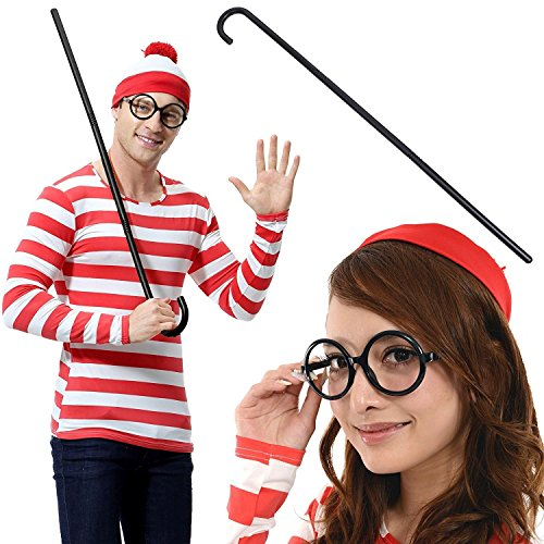 Where's Wenda Costume Large (Where's Wally? wally wenda cane costume unisex size M~XXL (XXL))