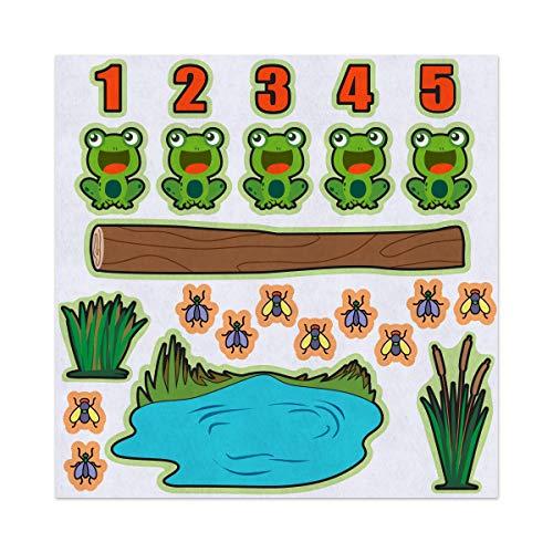 5 Green Speckled Frogs Nursery Rhyme Felt Play Art Set Flannel Board Story Storyboard Pieces