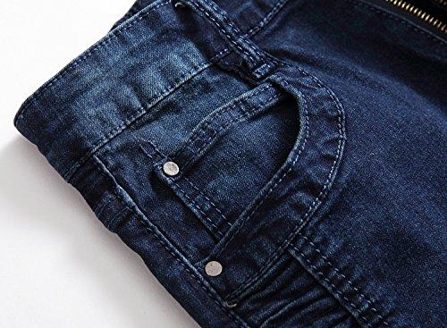 Parche Casual Destruido Vintage Fit Denim Con Jeans Vaqueros Slim Azul Moda 2 Pantalones Hombres Stretch Agujeros Pantalones Marino 8wXYEzx8