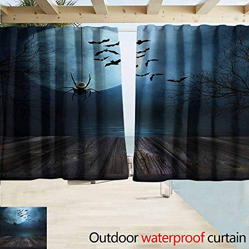 Zmacdk Halloween Outdoor Waterproof Curtain Misty Lake Scene Rusty Wooden Deck Spider Eyeball and Bats with Ominous Skyline Great for Living Rooms & Bedrooms W63 xL72 Blue Brown