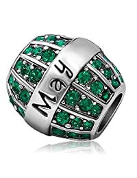 JMQJewelry Birthday Birthstone Jan-Dec Charm Spacer Beads with Crystal Charms for Bracelets