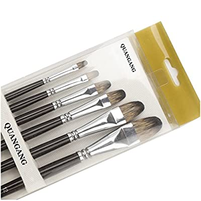 Art Paint Brushes,Set of 6 Filbert Mongoose Bristles,for Oil Watercolor Acrylics Gouache & Face Painting, Perfect for Advanced & Beginner Artists Students and Professionals