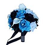 """Angel Isabella 9"""" Bridal Bouquet -Turquoise White and Black Rose Calla Lily"""