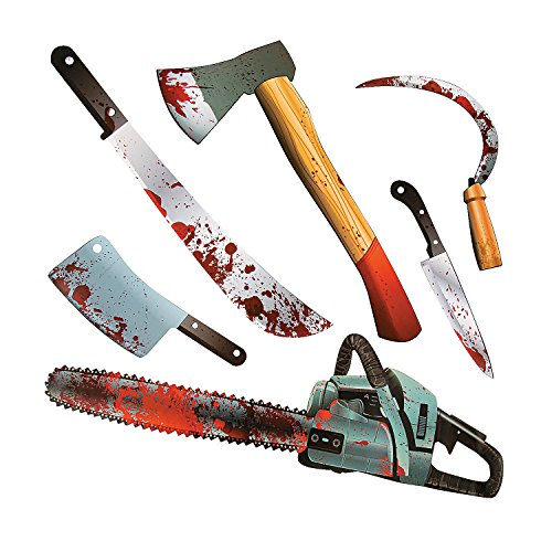 Paper Halloween Bloody Weapon Zombie Party Cutouts - 6 pieces (Toy Weapons)
