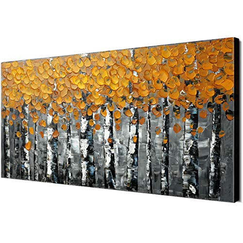 - 100% Hand-Painted Autumn Gold Yellow Leaves Birch Trees Forest Home Wall Decor Oil Paintings Wood Framed Contemporary Abstract Palette Knife Artwork Landscape 3D Hand-Painted Ready to Hang Livingroom
