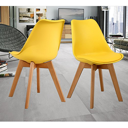 NOBPEINT Eames-Style Mid Century Dining Chairs,Set of 2(Yellow) …