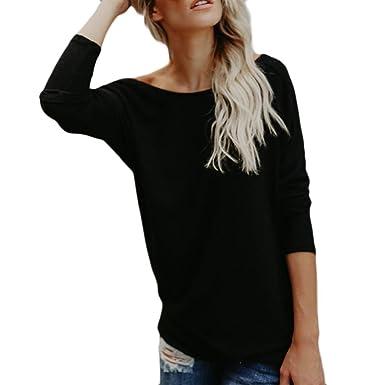 ... Blusa Espalda Descubierta Cuello Redondo Ancho Señora Fiesta Gris Casual Ropa de Punto para Mujer Baratas Camisetas Negras: Amazon.es: Ropa y accesorios