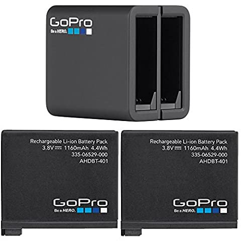 GoPro 2 Genuine Original Rechargeable Battery Pack for HERO4 and GoPro HERO4 Dual Battery Charger For GoPro HD Hero 4 Black Silver AHBBP-401 (Wasabi Gopro Battery 4)