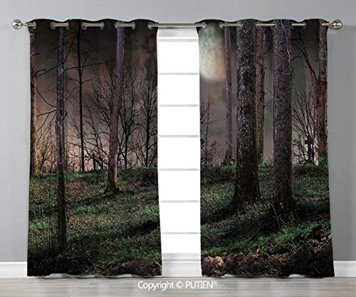 Grommet Blackout Window Curtains Drapes [ Gothic,Dark Night in the Forest with Full Moon Horror Theme Grunge Style Halloween,Brown Green Yellow ] for Living Room Bedroom Dorm Room Classroom Kitchen Ca -