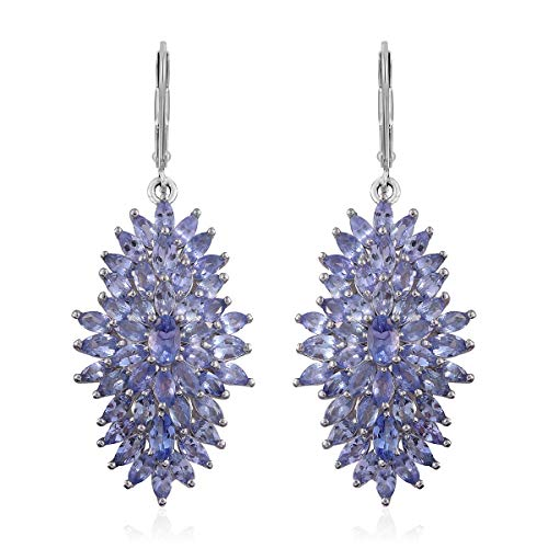 925 Sterling Silver Platinum Plated Oval Tanzanite Dangle Drop Earrings Jewelry Cttw ()