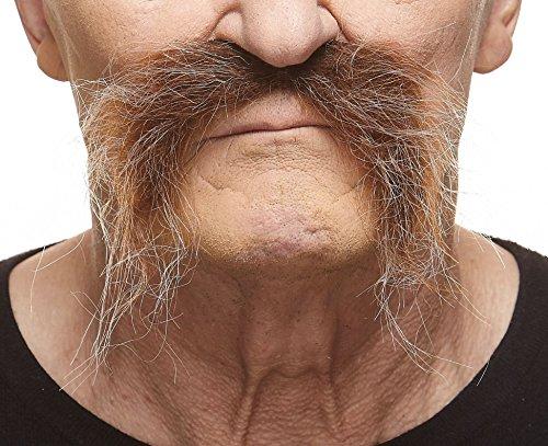[Realistic Fu Manchu brown with gray mustache] (Fu Manchu Costumes)