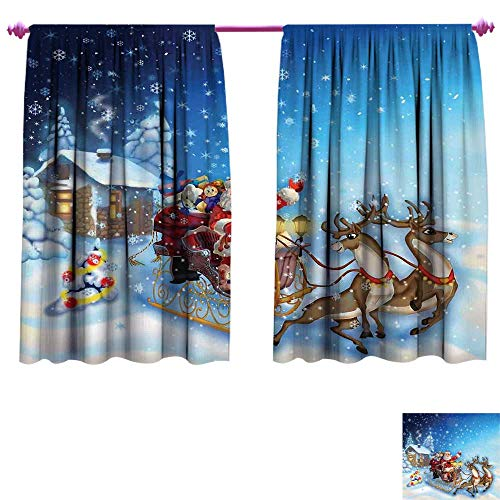 Christmas Waterproof Window Curtain Santa in Sleigh with Reindeer and Toys in Snowy North Pole Tale Fantasy Image Decorative Curtains for Living Room W55 x L63 Navy Blue