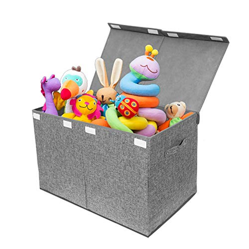 Kids Large Toy Chest Linen Collapsible Storage Box Container BinsFlip-Top Lid Toy Basket for Nursery Playroom Closet Home Organization(Gray)