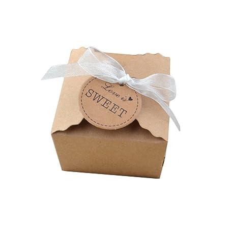 yalulu 50pcs papel Kraft papel favor Candy caja regalo cajas ...