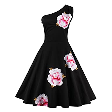 Summer Dresses Sexy Black One Shoulder Floral Vintage Dress 1950s Style Elegant Women Retro Rockabilly Dress
