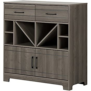 Amazon.com: South Shore Vietti Bar Cabinet with Bottle and Glass ...