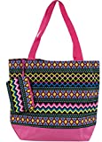 Ever Moda Pink Aztec Tote Bag, Large 17-inch