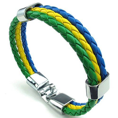 Daesar Gold Plated Bracelet Mens Rope Bracelets For Men Length:Yellow Green 9 (Turquoise Stone Stretch Band Watch)