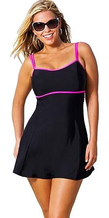 402bdee8c1 Beach Belle Cerise Plus Size Lingerie Swimdress Women's Swimsuit - Black -  Size:14