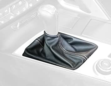 Compatible with Chevrolet Camaro 2010-15 Black Alcantara-Silver Thread RedlineGoods Shift Boot 2010-12