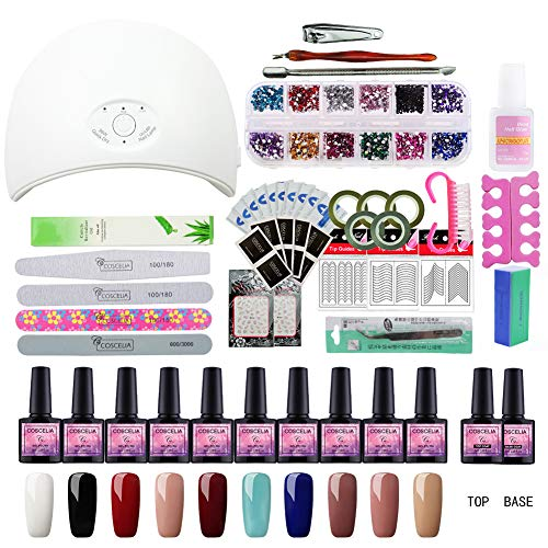 Saint-Acior 10 Colors Gel Polish Starter Kit 36W LED UV Nail Dryer Curing Lamp Manicure Nail Tool