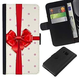 KLONGSHOP // Tirón de la caja Cartera de cuero con ranuras para tarjetas - Regalo de cumpleaños Polka Dot cinta - HTC One M7 //