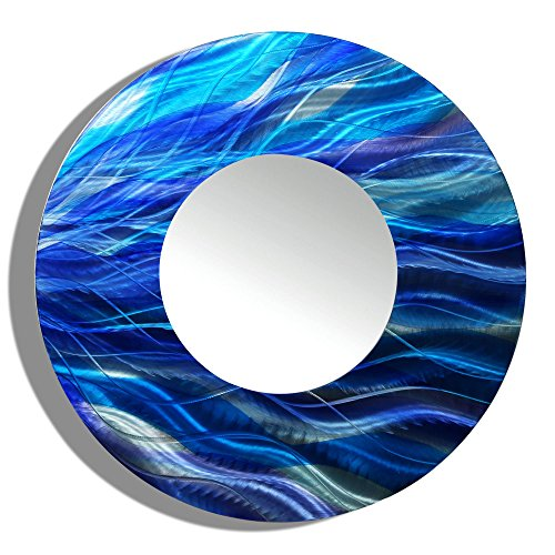 Statements2000 Blue Metal Wall Mirror by Jon Allen - Round Decorative Wall-Mounted Mirror Abstract Decor Accent 23-inch, Mirror 111