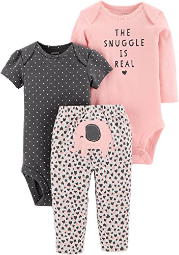 (Carter's Baby Girls 3 pc Cotton Elephant Snuggle Character Set (12M))