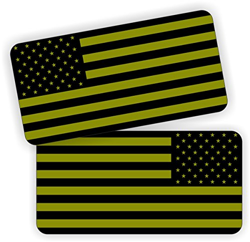 Pair | OD Green American Flags Hard Hat Stickers | Flag Decals | Labels Black Ops Tool Lunch Box Helmet Patriotic Old Glory Olive Drab Army Marines -