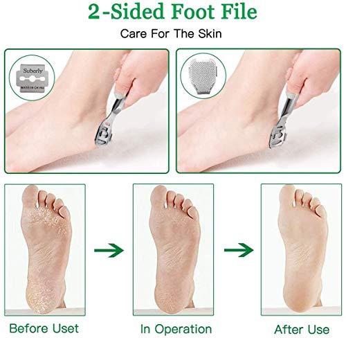 Foot Callus Remover, 12Pcs Stainless Steel Pedicure Rasp Foot Files Scraper Hard Skin Feet Callus Shaver Kit with Case, Foot Care Tool