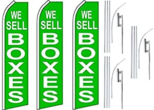 3 Swooper Flutter Flags plus 3 Poles & Ground Spikes WE SELL BOXES Green White