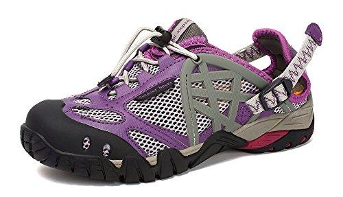 DUORO Damen Herren Trekking Wanderschuhe Atmungsaktiv Outdoor Fitnessschuhe Mesh Wasserschuhe Sport Laufen Klettern Sandalen 35-47 Violett