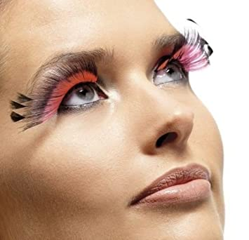 52563107a28 Ladies Long Black/Pink Feather Plumes Fake False Eyelashes Burlesque Drag  Queen Fancy Dress
