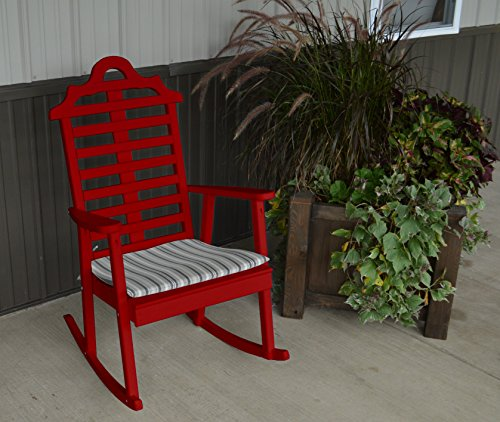 Marlboro Rocker Otdoor Rocking Chair - Classic Design for Your Home, Porch or Deck (Chinese Red)