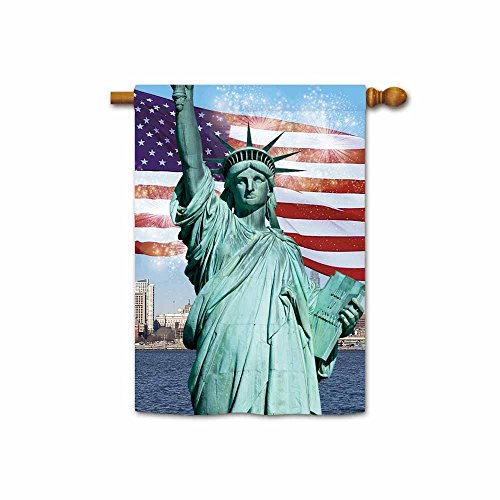 KafePross American Flag and Firework to Celebrate US Independence Day Patriotic House Flag Statue of Liberty Home Decor Banner 28