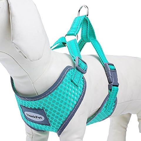 DogLemi Reflective Breathable Soft Air Mesh Dog Vest Harness Medium Size Neon Neon Blue