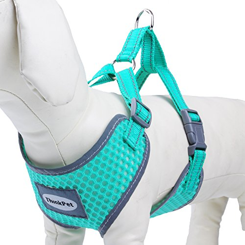 DogLemi Reflective Breathable Soft Air Mesh Dog Vest Harness Medium Size Neon Neon Blue