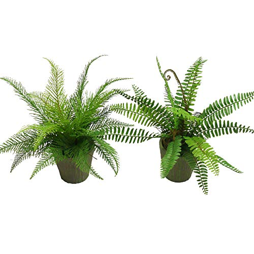Pauwer Artificial Plants in Pots Plastic Fern Leaves Greenery Potted Plants Topiary Shrubs for Bathroom Kitchen Window Home Office Desk Decoration