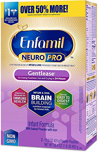 Enfamil NeuroPro Gentlease Infant Formula – Brain Building Nutrition Inspired by Breast Milk, Milk Powder Refill, 30.4 oz – MFGM, Omega 3 DHA, Probiotics, Iron & Immune Support (Packaging May Vary)